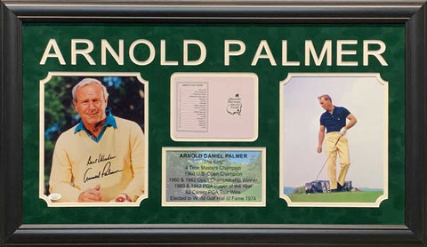 Arnold Palmer Signed Yellow Sweater 8x10 Photo with Master Scorecard, 8x10 and Stat Display - Professionally Framed