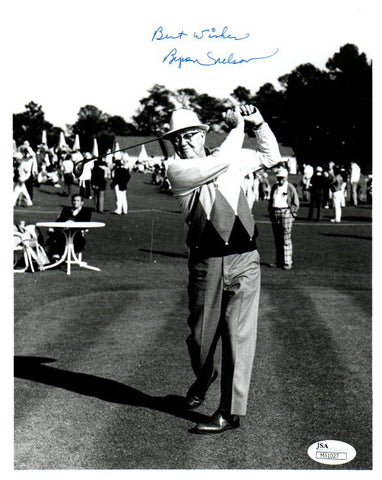 Byron Nelson Signed End of Swing in Argyle Sweater 8x10 Photo