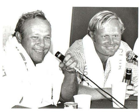 Arnold Palmer and Jack Nicklaus At the Mic Unsigned Old Time Photo