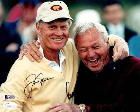 Arnold Palmer and Jack Nicklaus Signed Laughing 8x10 Photo - Beckett Slabbed