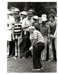 Jack Nicklaus Chipping in Front of Crowd, Stripped Shirt Unsigned Old Time Photo