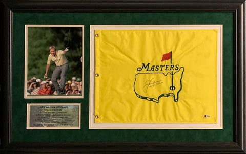 Jack Nicklaus Signed Masters Flag with Dates with Arm Up 8x10 - Professionally Framed