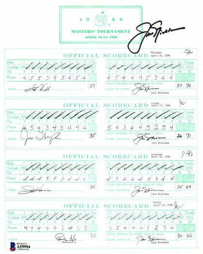 Jack Nicklaus Signed Replica Score Sheet from 1986 Masters