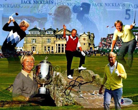 Jack Nicklaus Signed Collage 8x10 Photo - Beckett Slabbed