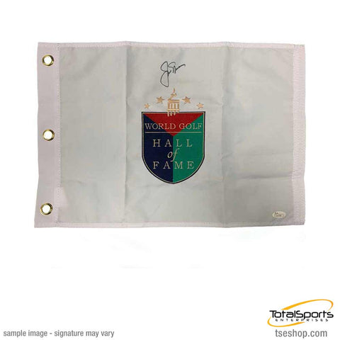 Jack Nicklaus Signed White Hall of Fame Pin Flag
