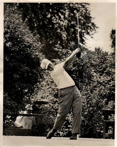 Jack Nicklaus Swinging in White Shirt, Club Up Unsigned Old Time Photo