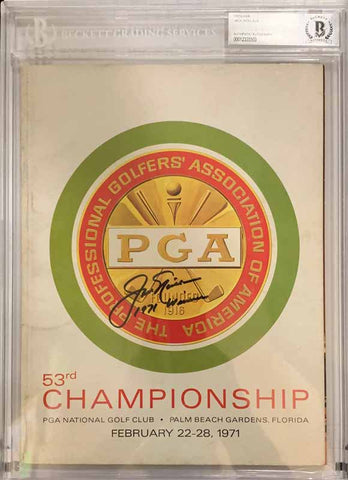 "Jack Nicklaus Signed Authentic 1971 Official 53rd PGA Program with ""1971 Winner"" (Beckett Slabbed)"