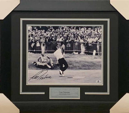 Lee Trevino Signed B&W Throwing Hat 11x14 Photo - Professionally Framed