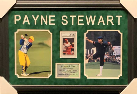 Payne Stewart Signed Pro Set Card in Red (with To Rick) with 2 8x10 Photos - Professionally Framed