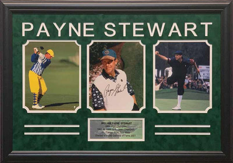 Payne Stewart Signed White Sweater 8x10 with 2 8x10 Photos - Professionally Framed