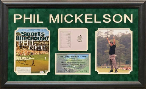 Phil Mickelson Signed Masters 8x10 Photo, Masters Scorecard and Stat Display - Professionally Framed