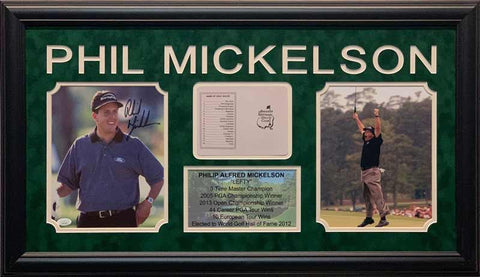 Phil Mickelson Signed Hands on Hips Gray Shirt 8x10 Photo, Masters Scorecard, 8x10 Photo and Stat Display - Professionally Framed