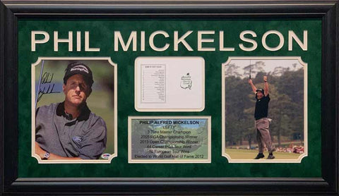 Phil Mickelson Signed Close Up Gray Shirt 8x10 Photo, Masters Scorecard, 8x10 Photo and Stat Display - Professionally Framed
