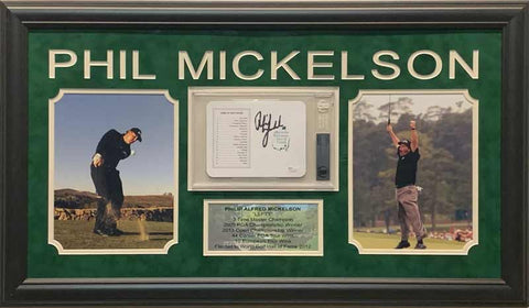 Phil Mickelson Signed Masters Scorecard with 2 8x10 Photos and Stat Display - Professionally Framed