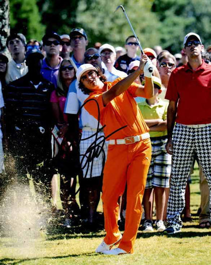 Rickie Fowler Signed Swinging in Orange 8x10 Photo