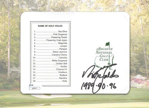 Nick Faldo Signed Masters Replica Scorecard with 1989,90,96