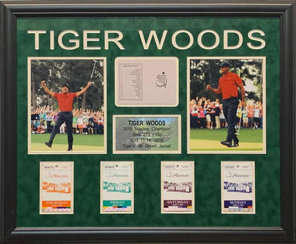 Tiger Woods 2019 Masters Display with Replica Masters Scorecard and Tickets (Unsigned)