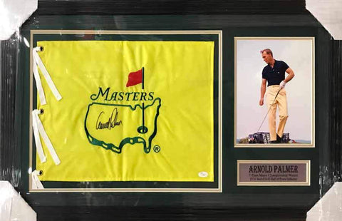 Arnold Palmer Signed Masters Flag with Early 8x10 Photo - Professionally Framed