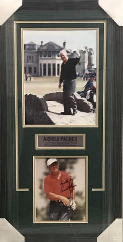 Arnold Palmer Signed Red Shirt White Hat 8x10 w/11x14 on Swilcan Bridge - Professionally Framed