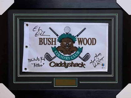 Bushwood Pin Flag from CaddyShack Signed by Chevy Chase, Michael O'Keefe and Cindy Morgan - Professionally Framed
