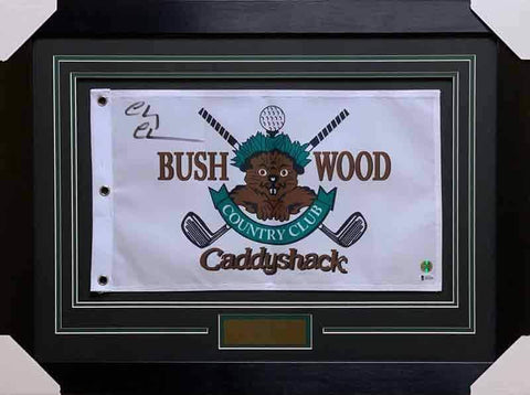Bushwood Pin Flag from CaddyShack Signed by Chevy Chase - Professionally Framed