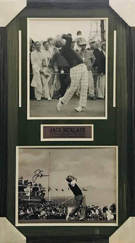 Jack Nicklaus Signed B&W Swinging 11x14 Photo with 11x14 Photo - Professionally Framed