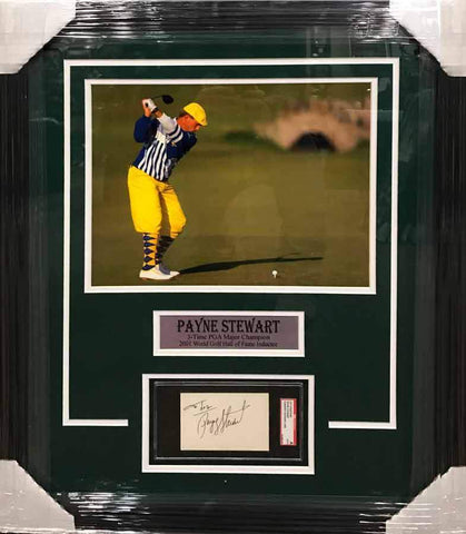 Payne Stewart Cut Out Signature with Yellow and Blue 11x17 Photo - Professionally Framed