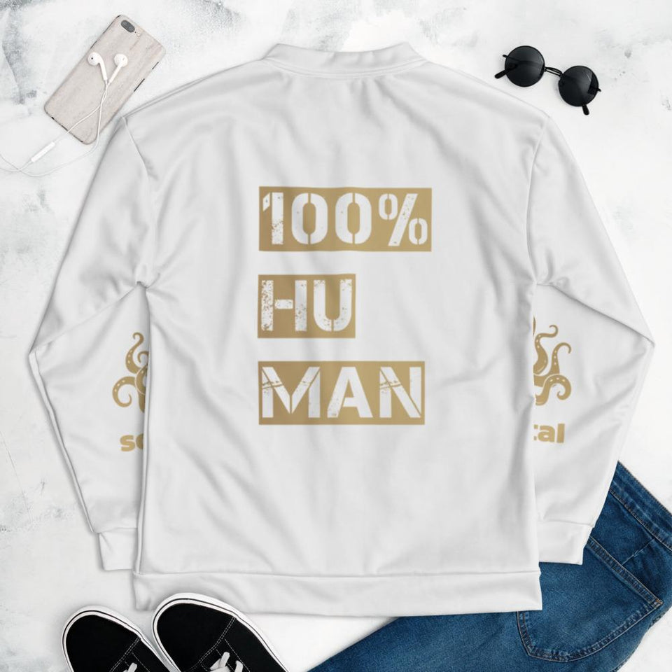 100% Human Bomber Jacket Political-Activist-Socialist-Fashion -Art-And-Design