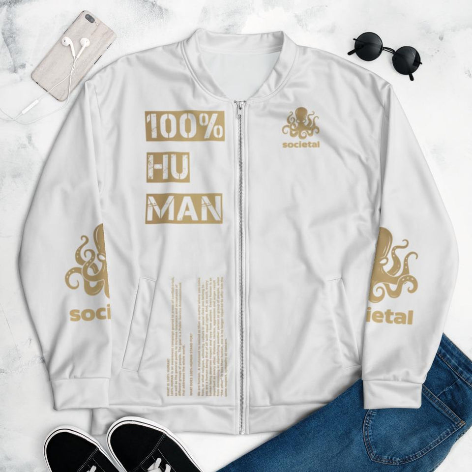 100% Human Bomber Jacket XS Political-Activist-Socialist-Fashion -Art-And-Design