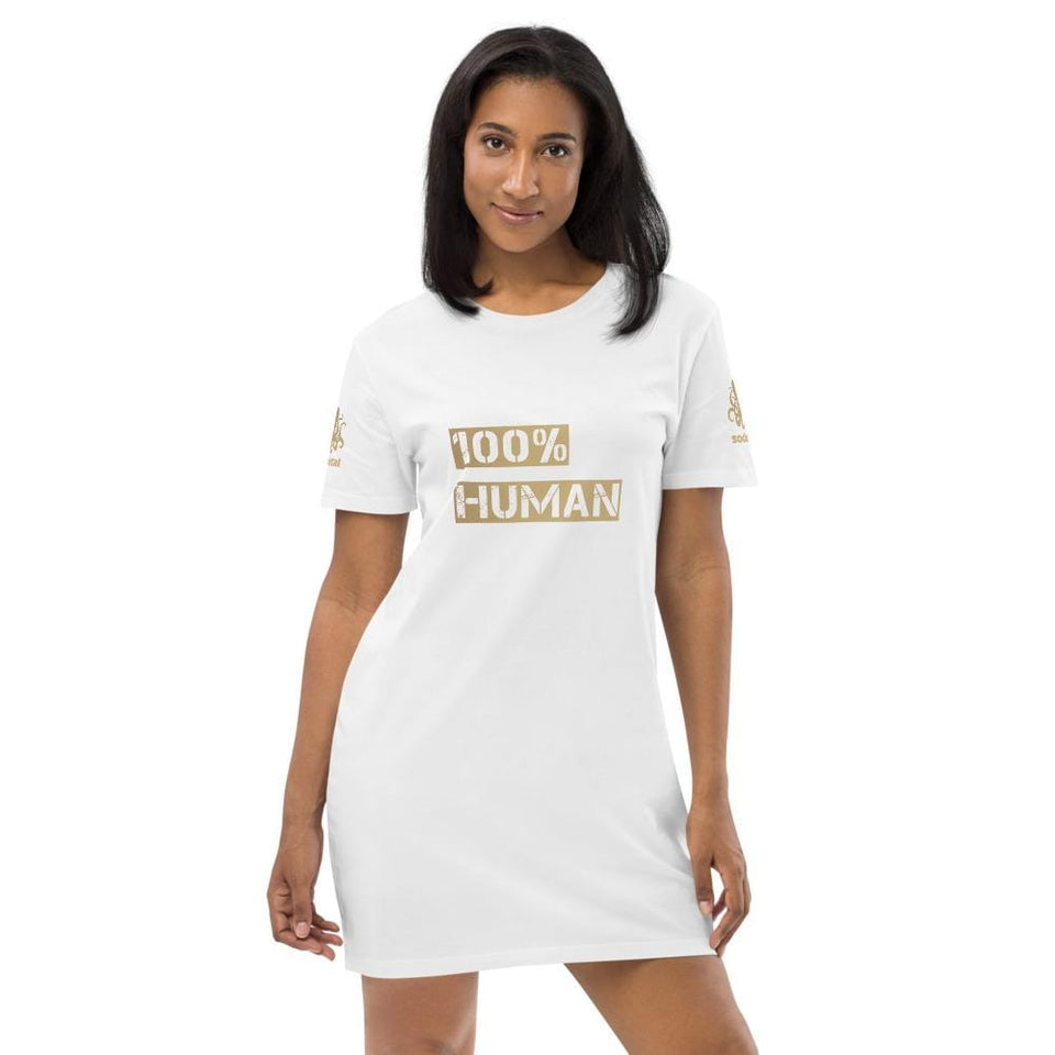 100% Human Organic cotton t-shirt dress White / XS Political-Activist-Socialist-Fashion -Art-And-Design