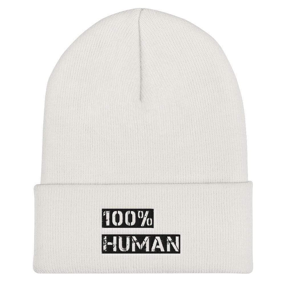 100% Human Cuffed Beanie Political-Activist-Socialist-Fashion -Art-And-Design