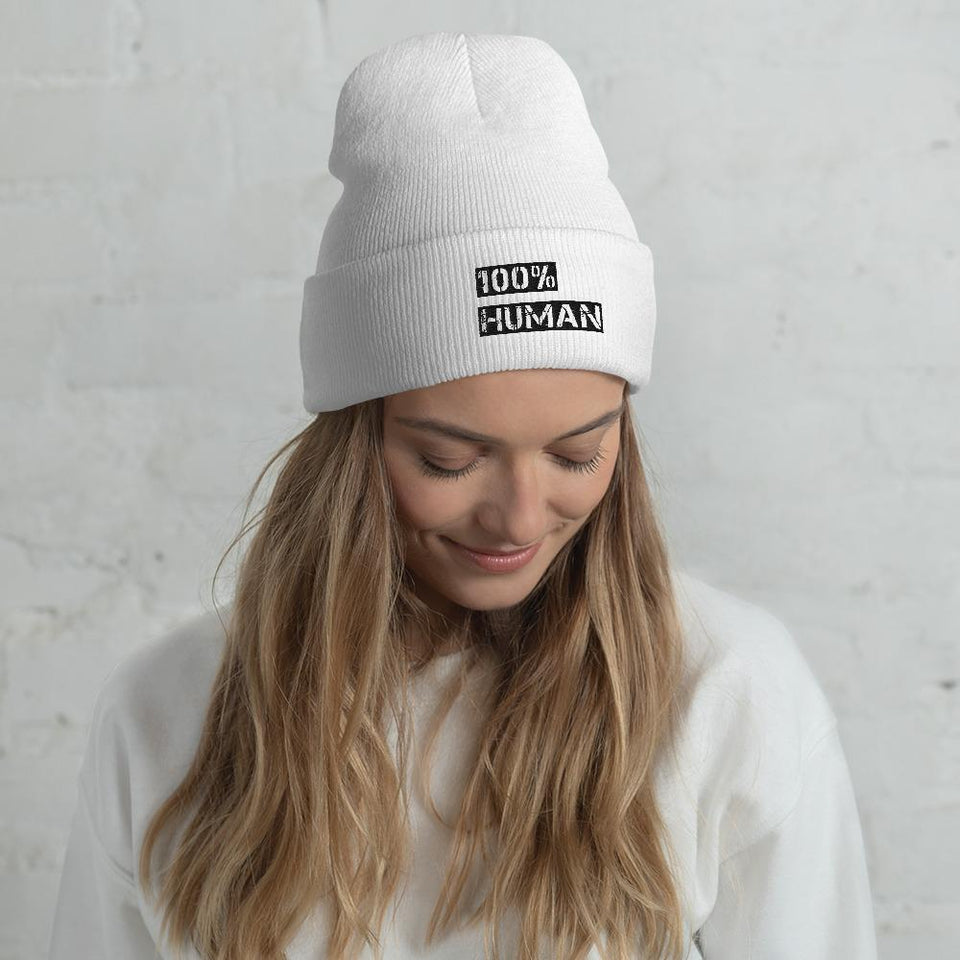 100% Human Cuffed Beanie White Political-Activist-Socialist-Fashion -Art-And-Design