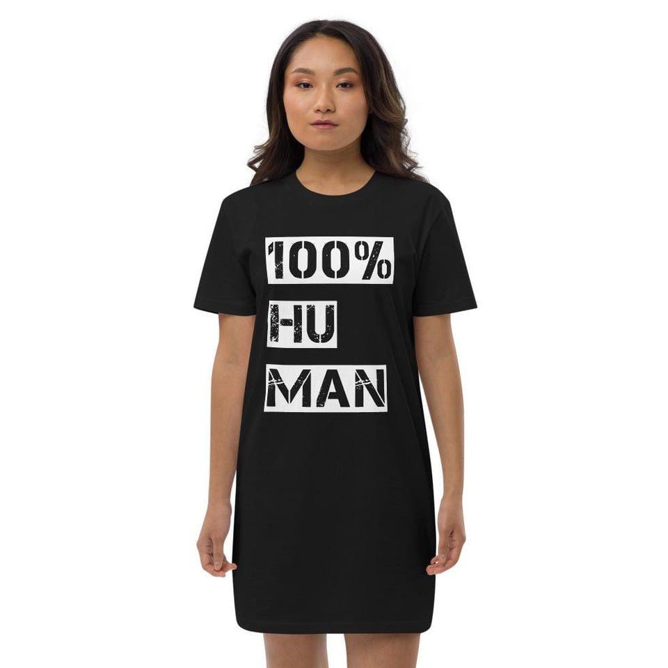 100% Human Organic t-shirt dress Black / XS Political-Activist-Socialist-Fashion -Art-And-Design