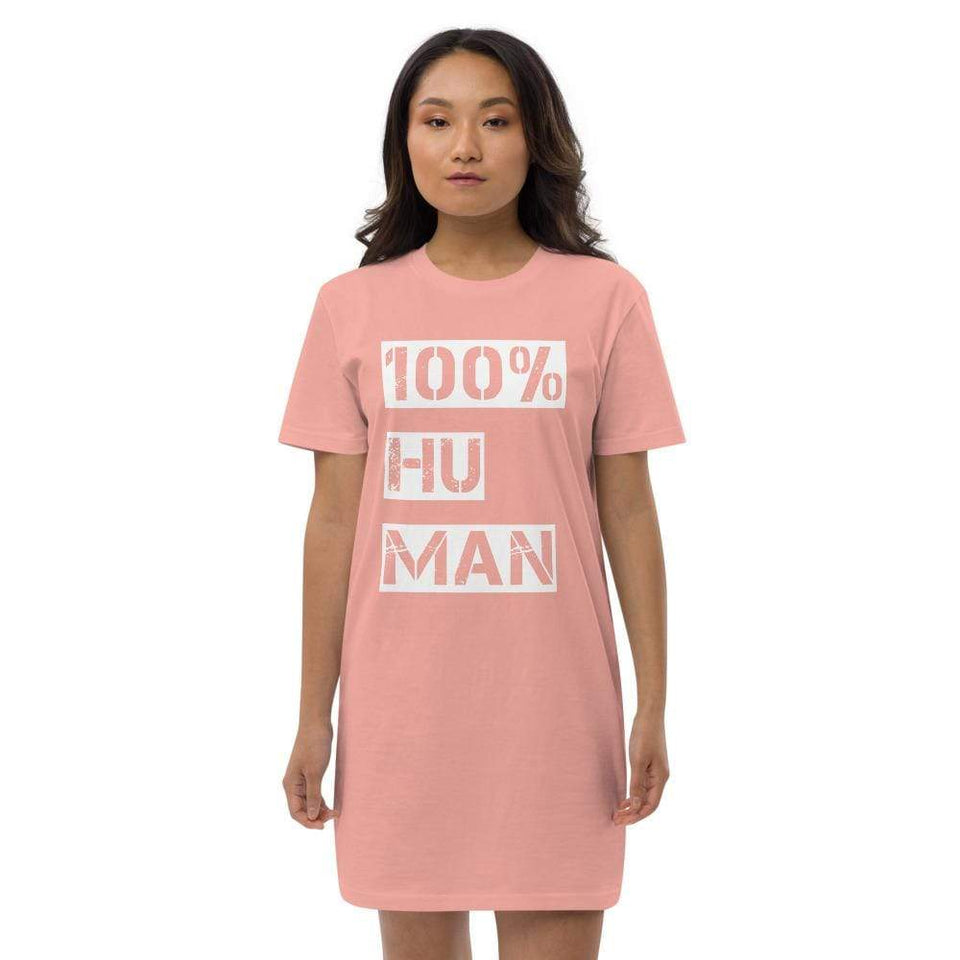 100% Human Organic t-shirt dress Canyon Pink / XS Political-Activist-Socialist-Fashion -Art-And-Design
