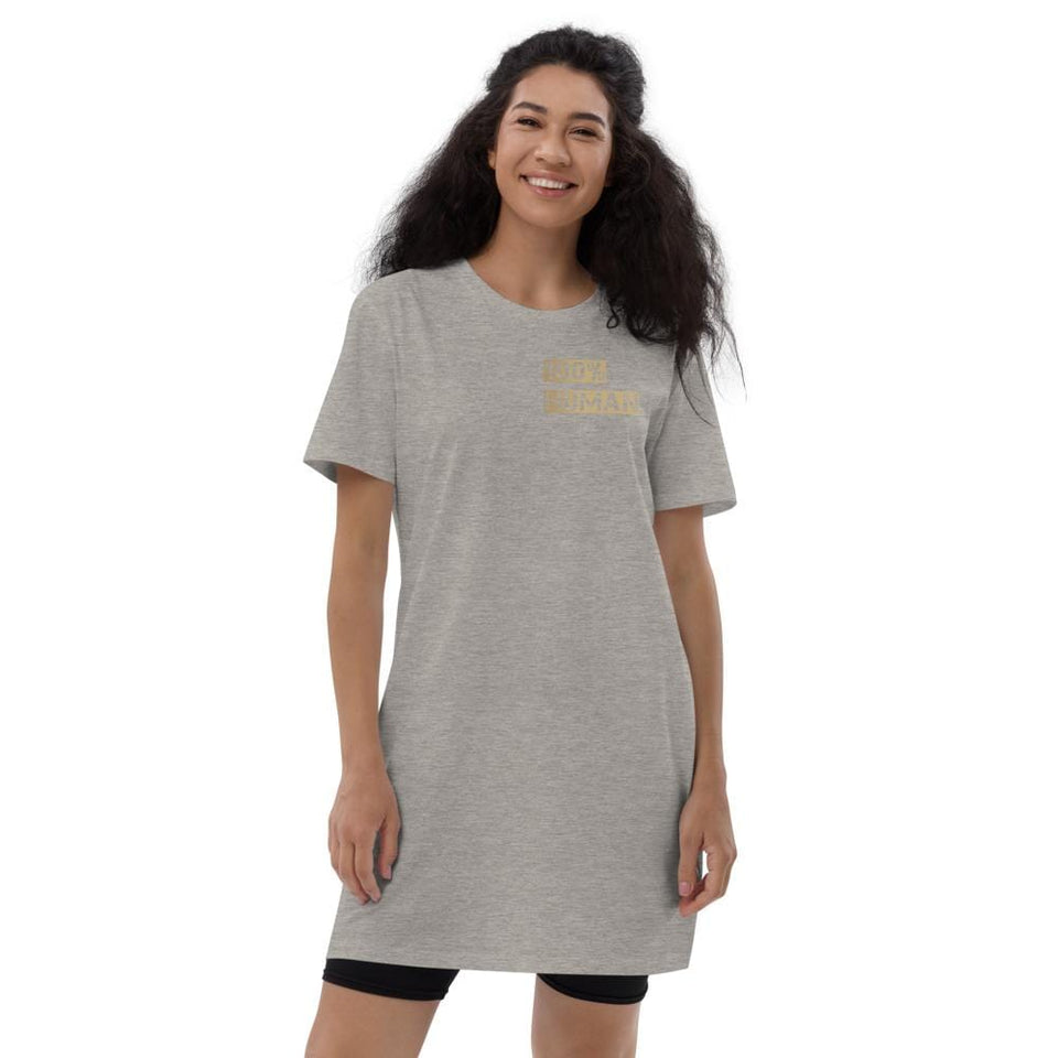 100% Human Organic t-shirt dress Heather Grey / XS Political-Activist-Socialist-Fashion -Art-And-Design