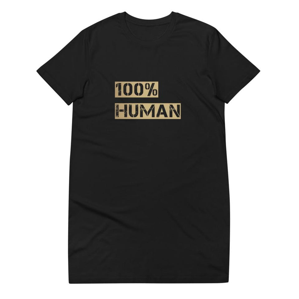 100% Human Organic cotton t-shirt dress Political-Activist-Socialist-Fashion -Art-And-Design