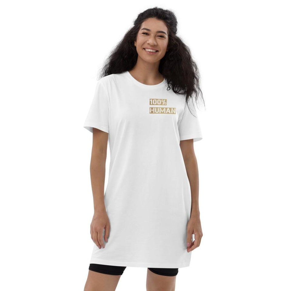 100% Human Organic t-shirt dress White / XS Political-Activist-Socialist-Fashion -Art-And-Design