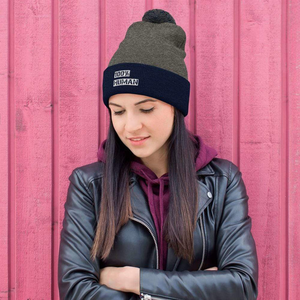 100% Human Beanie Dark Heather Grey/ Navy Political-Activist-Socialist-Fashion -Art-And-Design