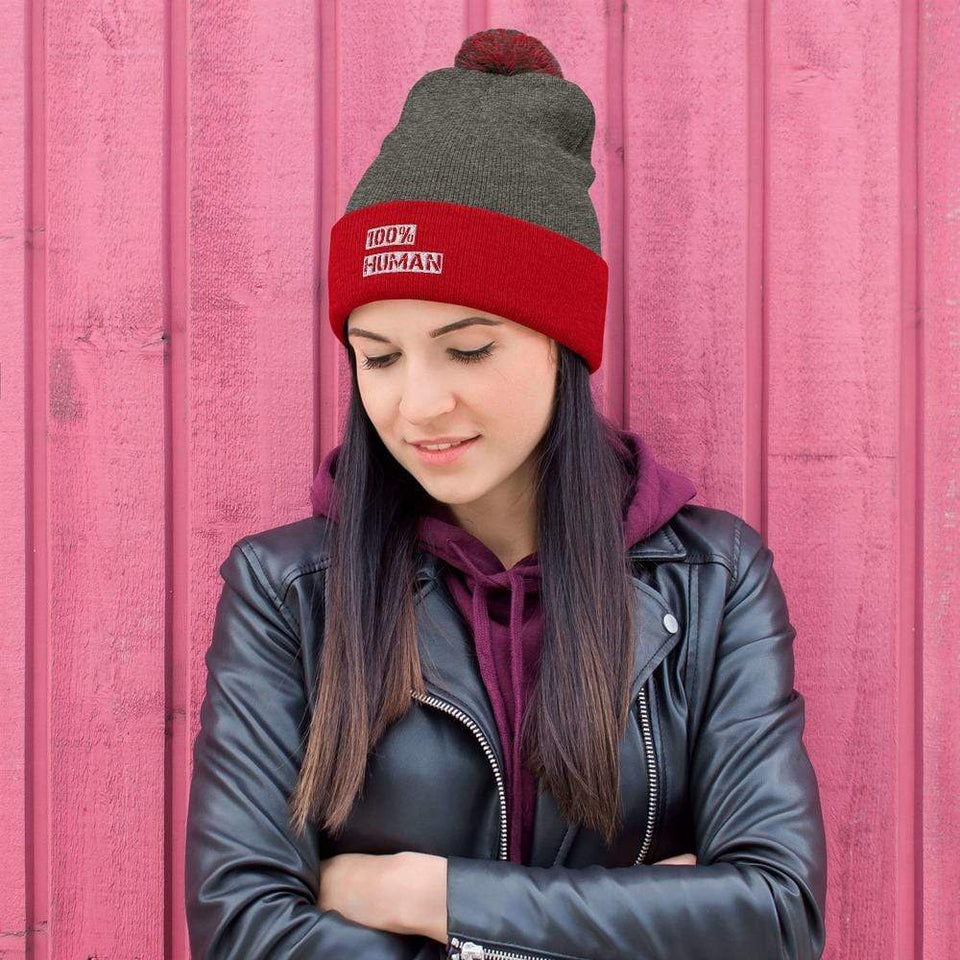 100% Human Beanie Dark Heather Grey/ Red Political-Activist-Socialist-Fashion -Art-And-Design