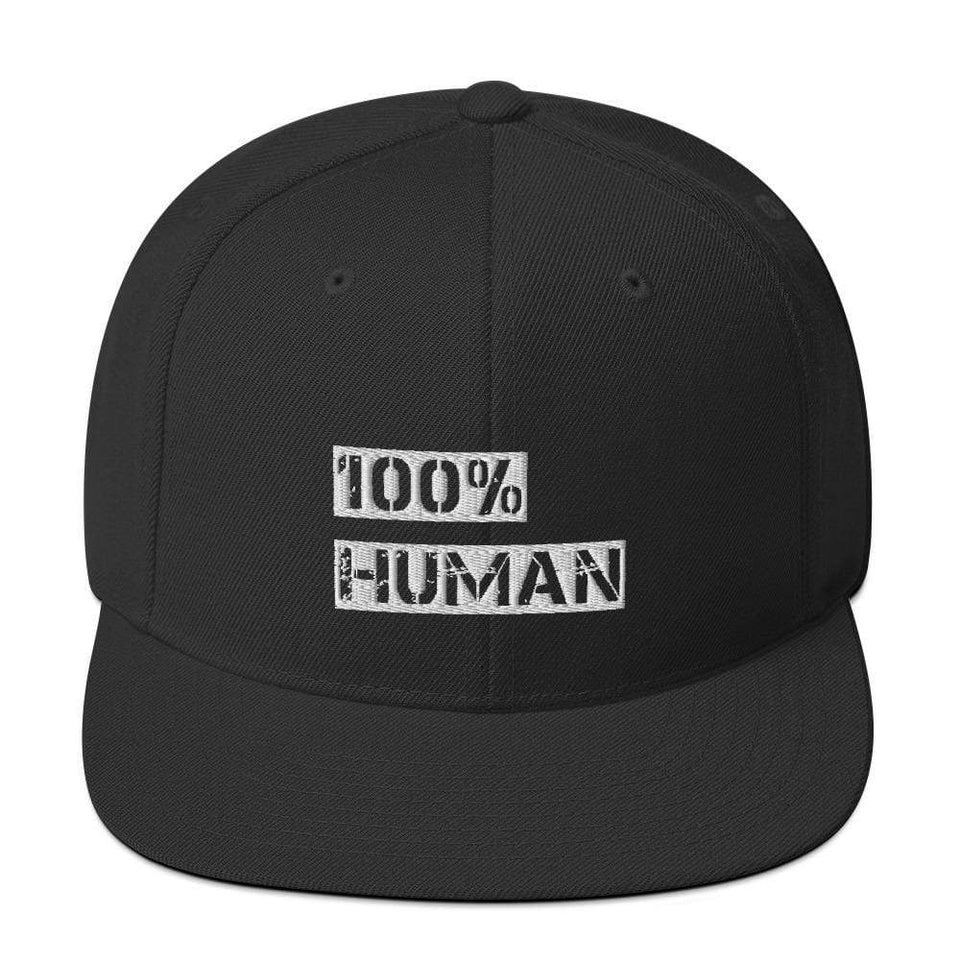 100% Human Snapback Hat Black Political-Activist-Socialist-Fashion -Art-And-Design