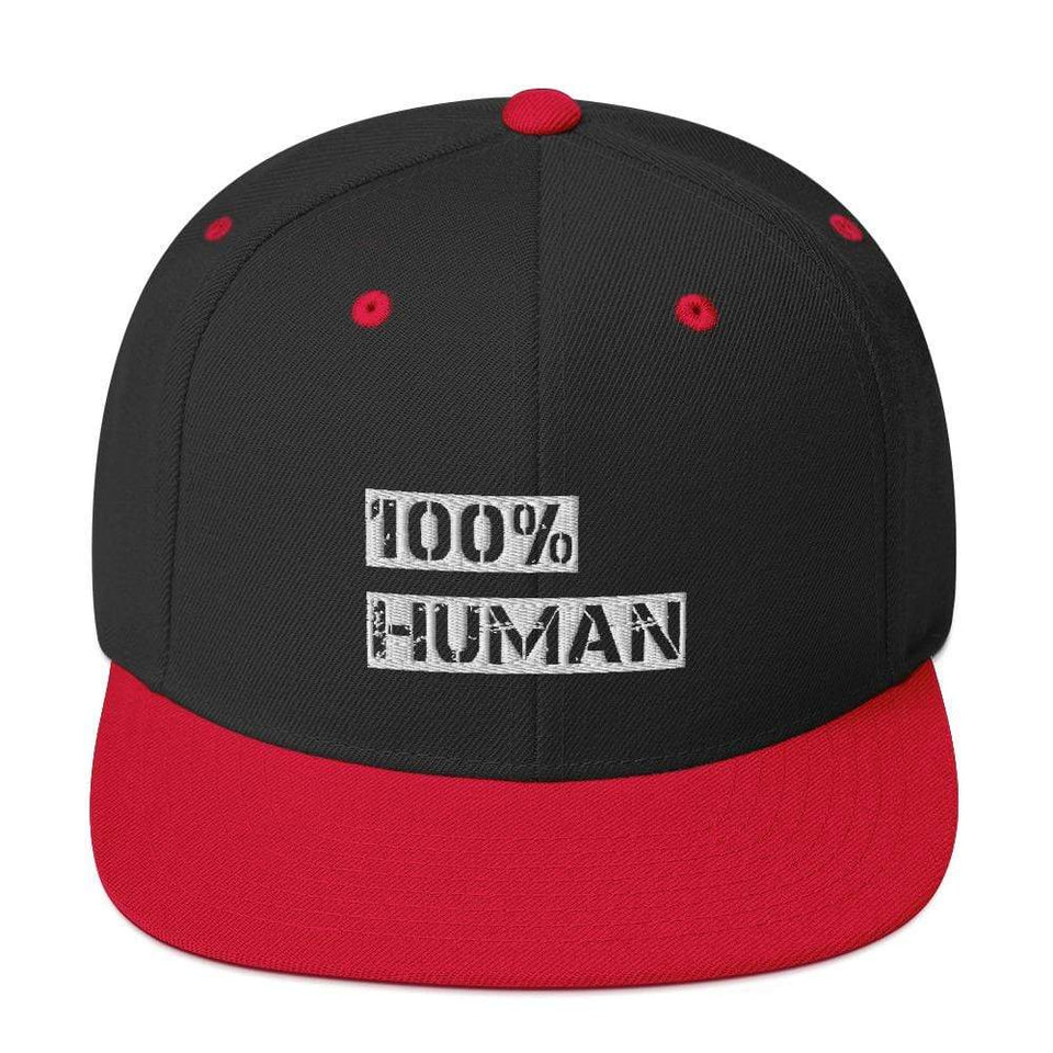 100% Human Snapback Hat Black/ Red Political-Activist-Socialist-Fashion -Art-And-Design