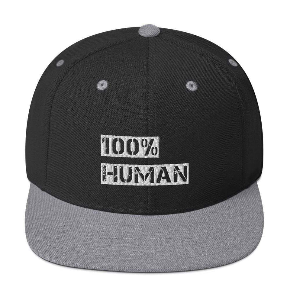 100% Human Snapback Hat Black/ Silver Political-Activist-Socialist-Fashion -Art-And-Design