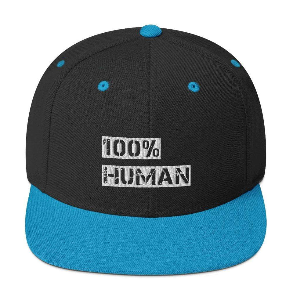100% Human Snapback Hat Black/ Teal Political-Activist-Socialist-Fashion -Art-And-Design