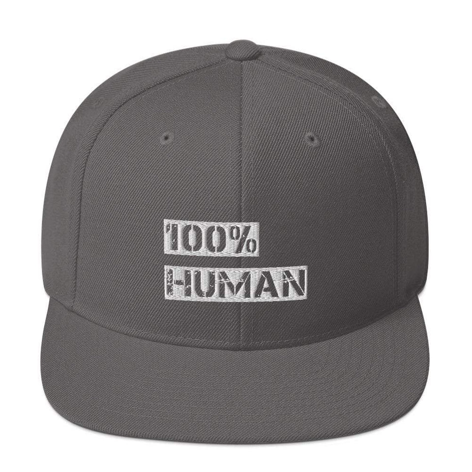 100% Human Snapback Hat Dark Grey Political-Activist-Socialist-Fashion -Art-And-Design