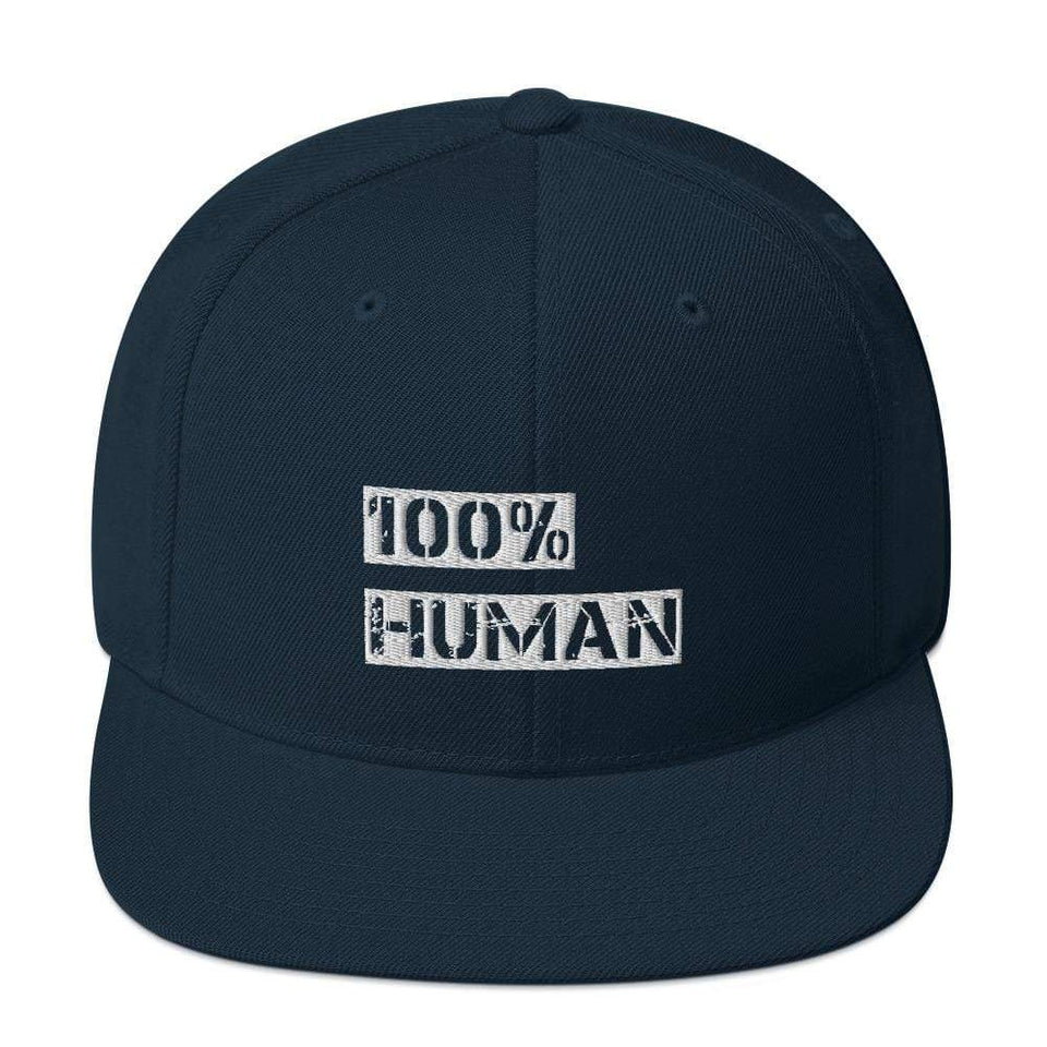 100% Human Snapback Hat Dark Navy Political-Activist-Socialist-Fashion -Art-And-Design