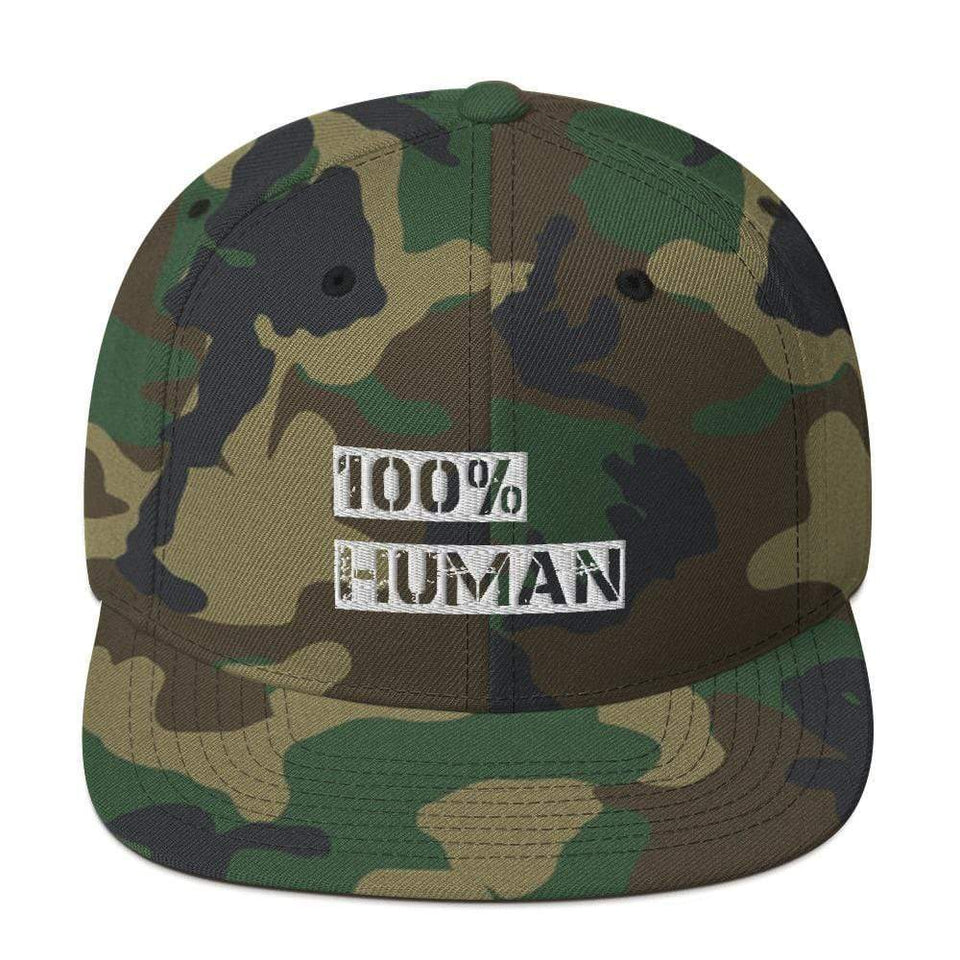 100% Human Snapback Hat Green Camo Political-Activist-Socialist-Fashion -Art-And-Design