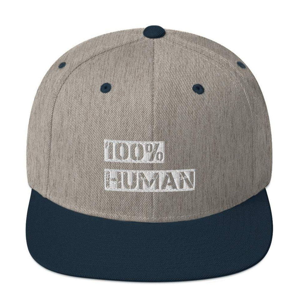 100% Human Snapback Hat Heather Grey/ Navy Political-Activist-Socialist-Fashion -Art-And-Design