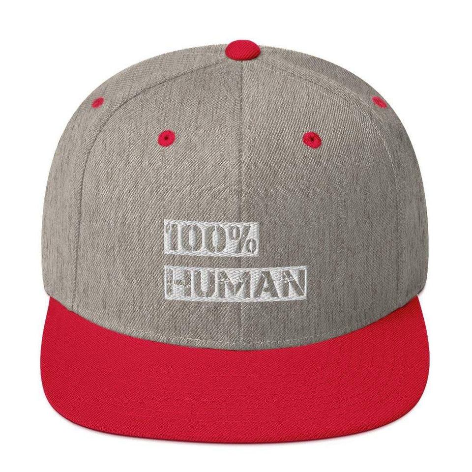 100% Human Snapback Hat Heather Grey/ Red Political-Activist-Socialist-Fashion -Art-And-Design