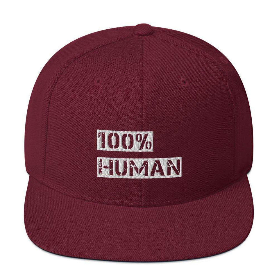100% Human Snapback Hat Maroon Political-Activist-Socialist-Fashion -Art-And-Design