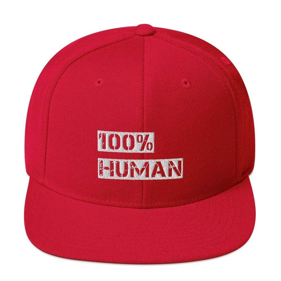100% Human Snapback Hat Red Political-Activist-Socialist-Fashion -Art-And-Design